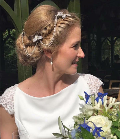 Suzanne wearing Camomile Headpiece