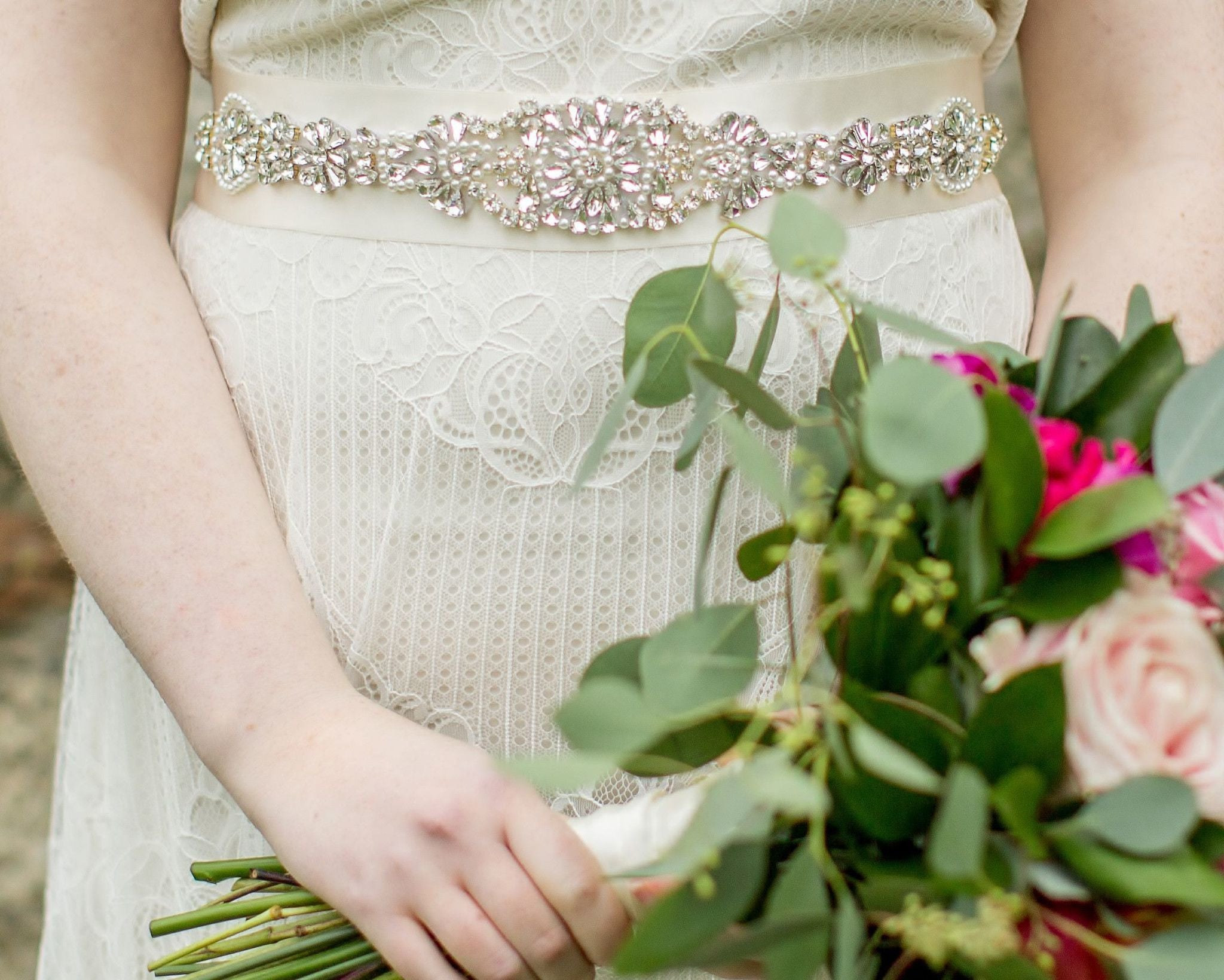 Hand Beaded & Embellished Wedding Gown Belt Sash, Marlena - Jules ...