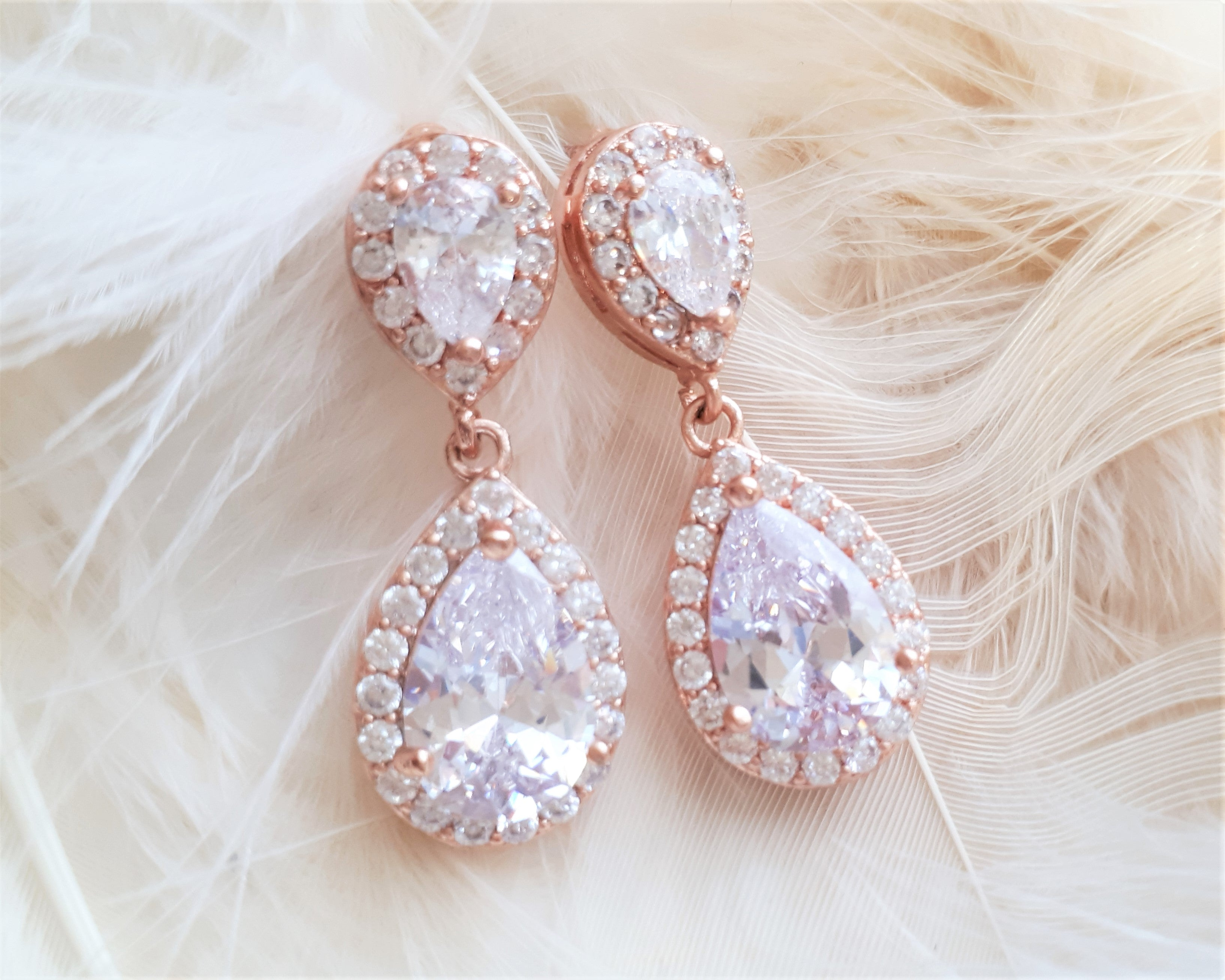 4f0e8ae660927 Crystal and Rose Gold Teardrop Earrings, Jodie