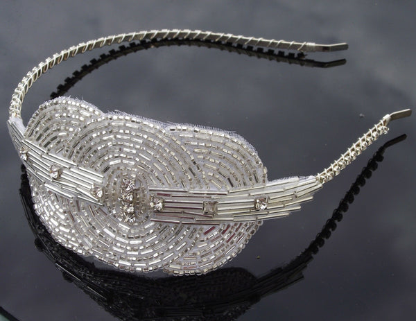 Art deco style appliqué headband cara jules bridal jewellery
