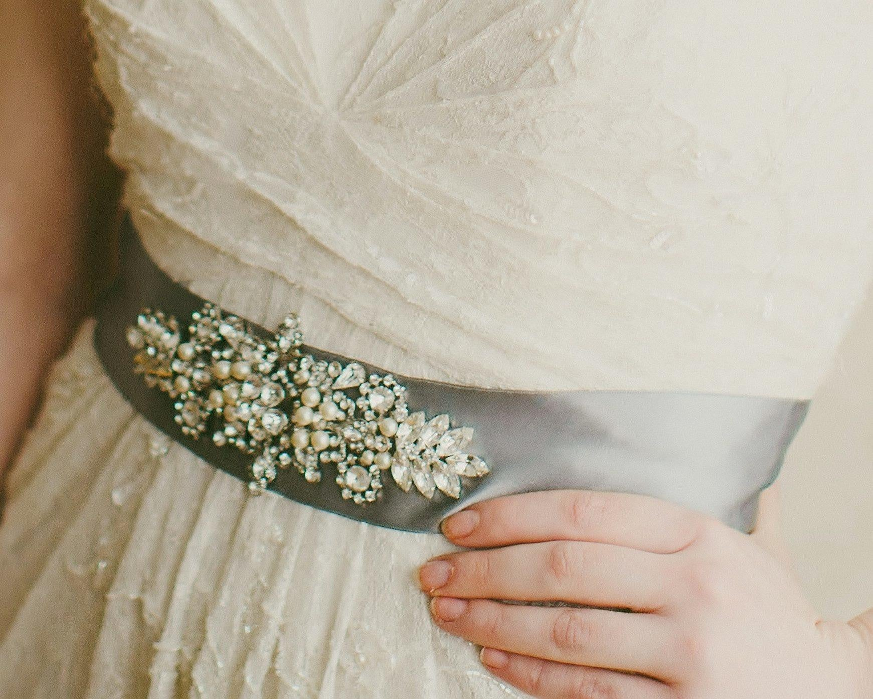 Hand Embellished Wedding Gown Sash, Giorgia - Jules Bridal Jewellery