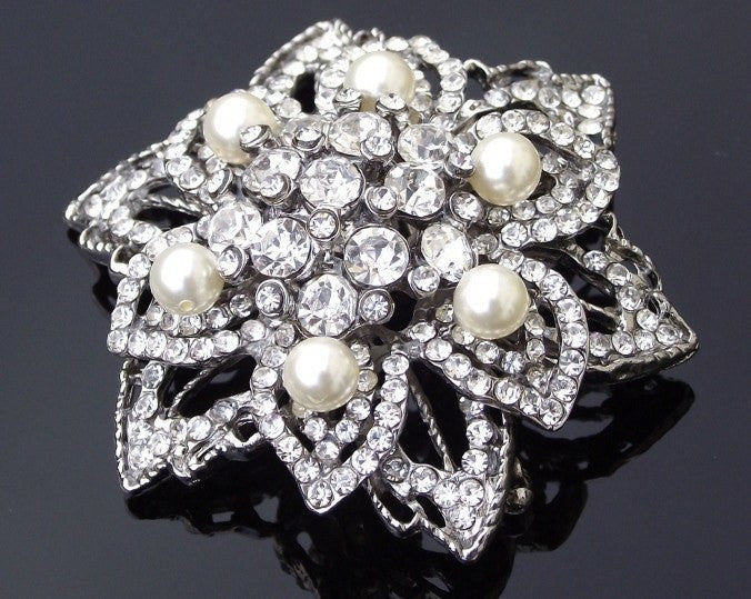 53acf6291bf Wedding Brooches - Art Deco Style Crystal And Pearl Brooch, Trinny-P ...