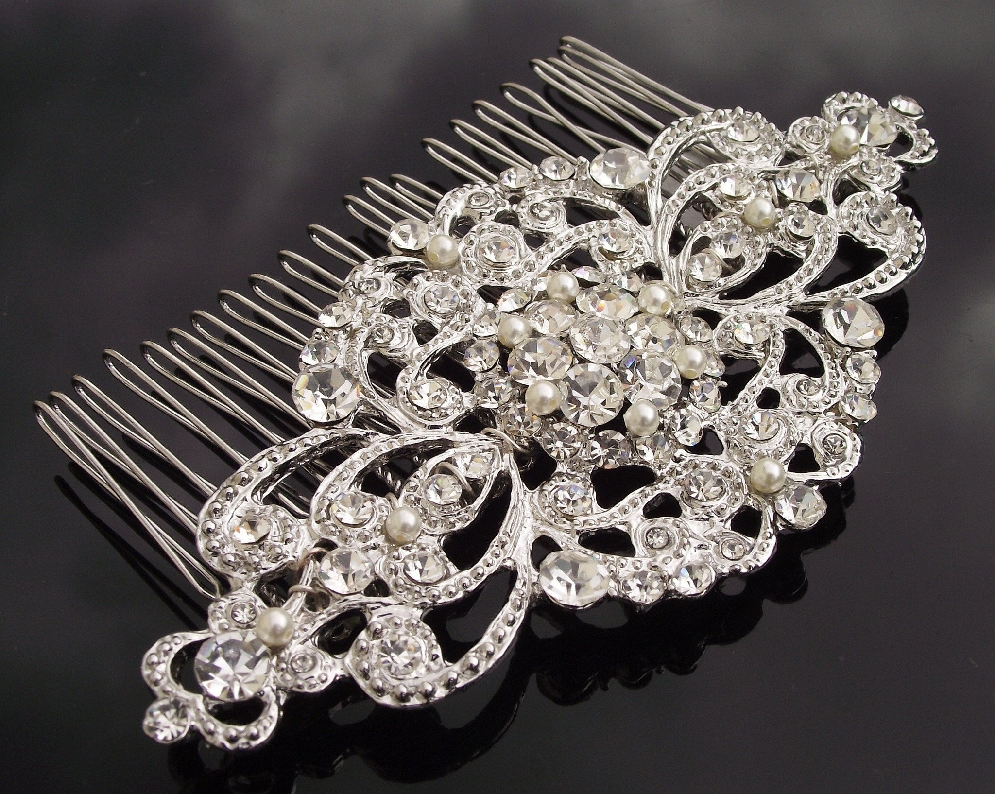 bc4018a4e ... Wedding Hair Combs - Antique Style Crystal & Pearl Embellished Wedding Hair  Comb, Lorena ...