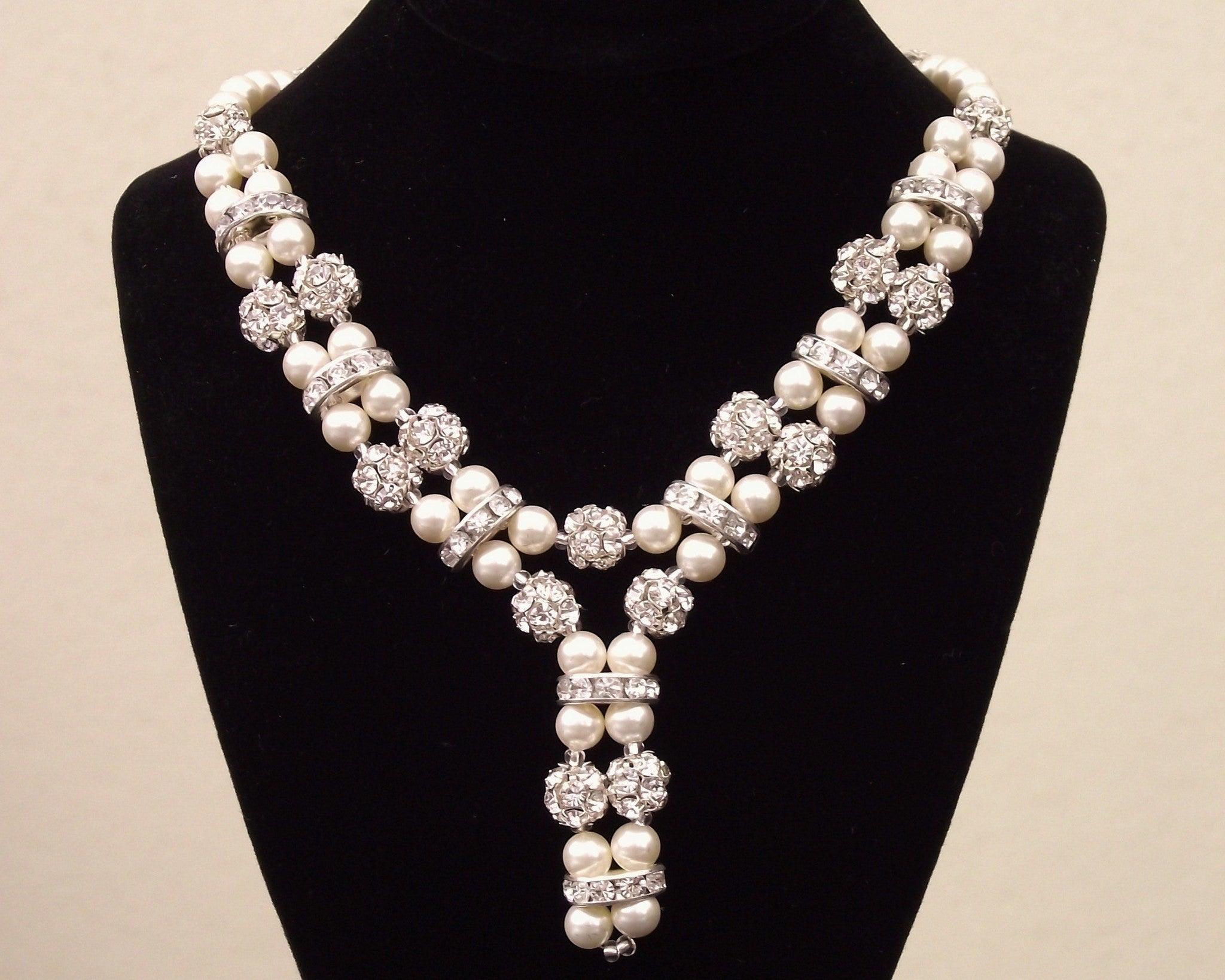 Sparkling pearl crystal pendant calista jules bridal jewellery wedding necklace beautiful pearl crystal encrusted wedding necklace monroe junglespirit Gallery