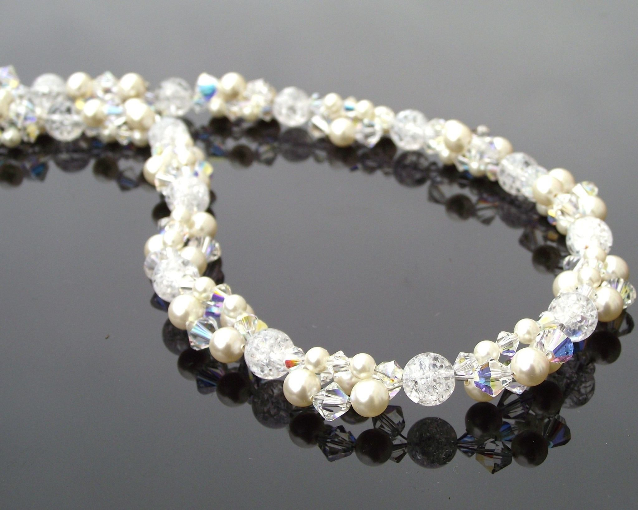 cce306d1bb Wedding Necklace - Pearl & Crystal Cluster Beaded Bridal Necklace, Sicily  ...