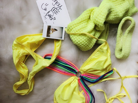 Neon Yellow & Rainbow One-piece (includes legwarmers and legband)