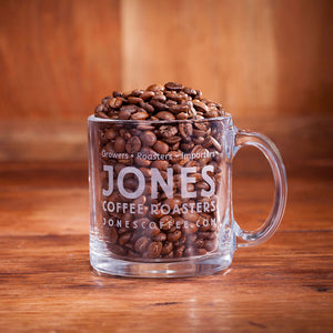 Jones Coffee Glass Mug