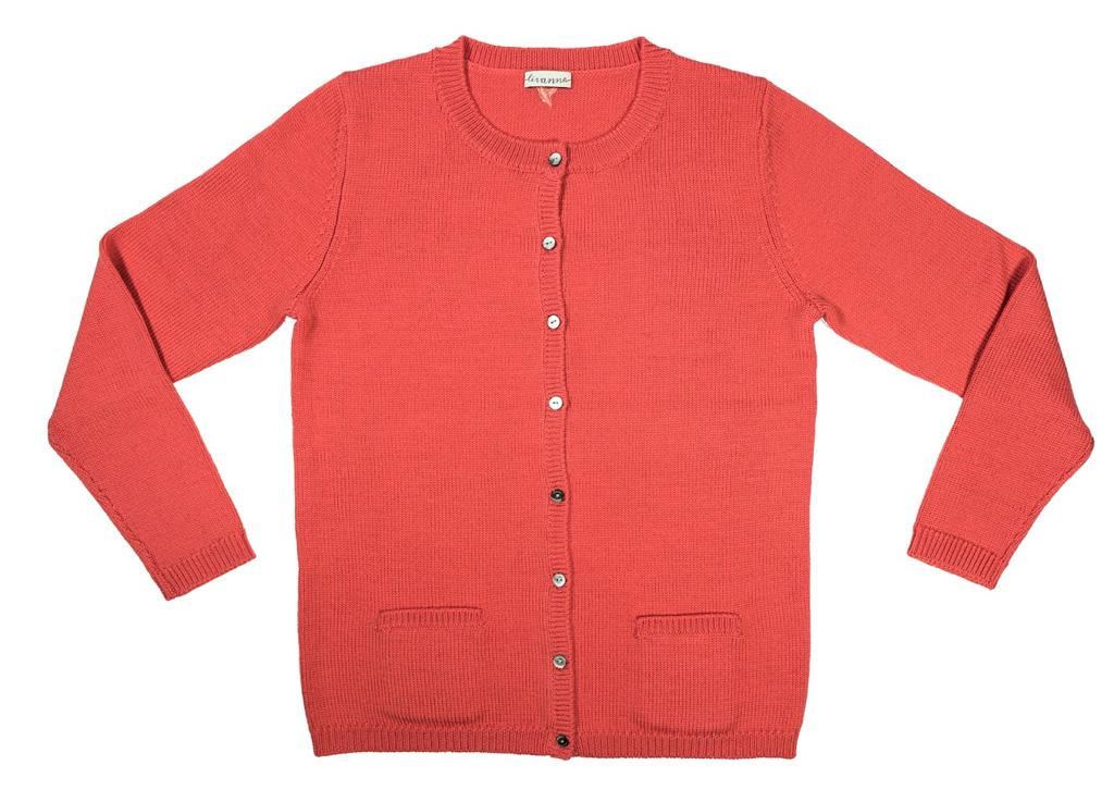 Girl's knitted button chunky cardigan sweater