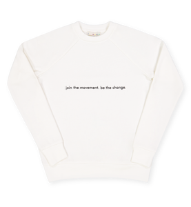 sudadera blanca join the movement be the change