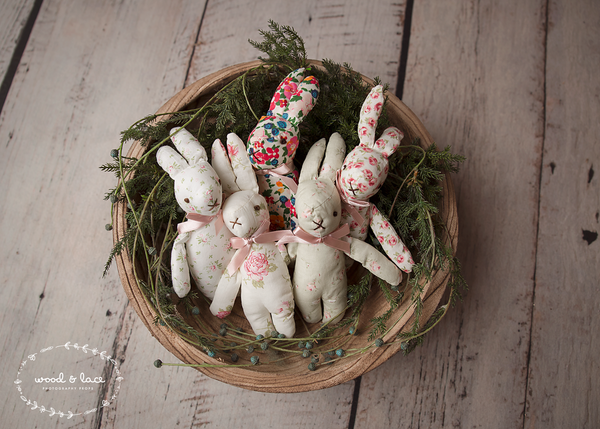 SNUGGLE BUNNIES - Wood & Lace Photography Props