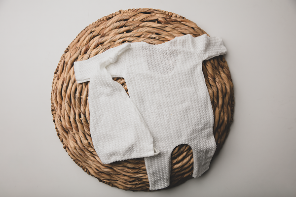 White Krystal ~ Newborn romper and beanie set