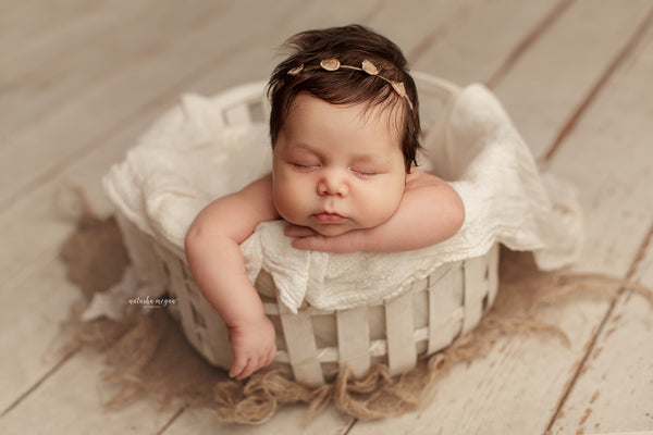 Cream Rope Basket - Natasha Megan Photography - Newborn Photo Props Australia - Wood and Lace