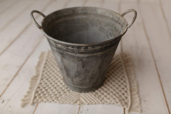 ZINC BUCKET - Newborn Photo Props Australia - Wood and Lace
