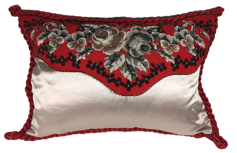 Beaded needlepoint pillow, red &gray floral