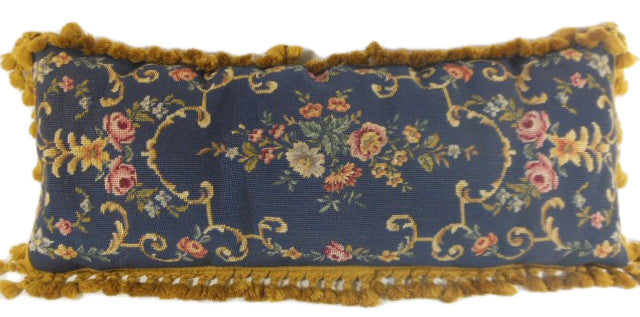 Needlepoint bolster, navy