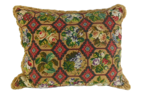 Victorian floral needlework pillow, gold