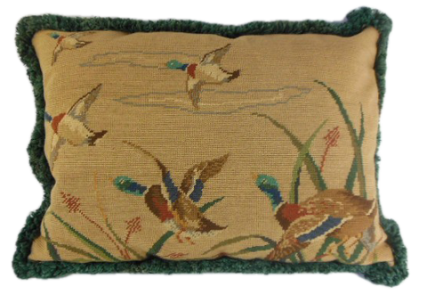 Needlepoint pillow of ducks