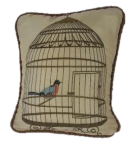 Embroidered bird in cage