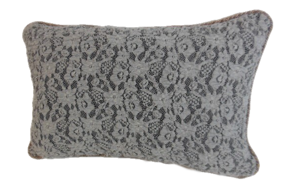 Gray french lace pillow