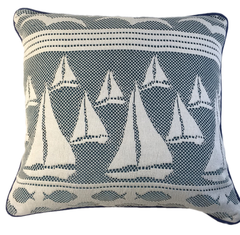 Crochet of sailboats, blue/white