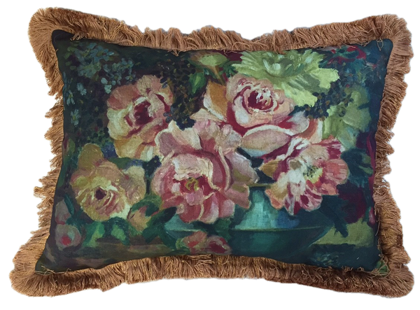 Roses still life painting pillow