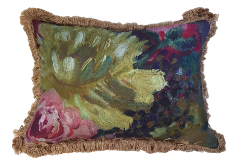 Yellow flower painting pillow