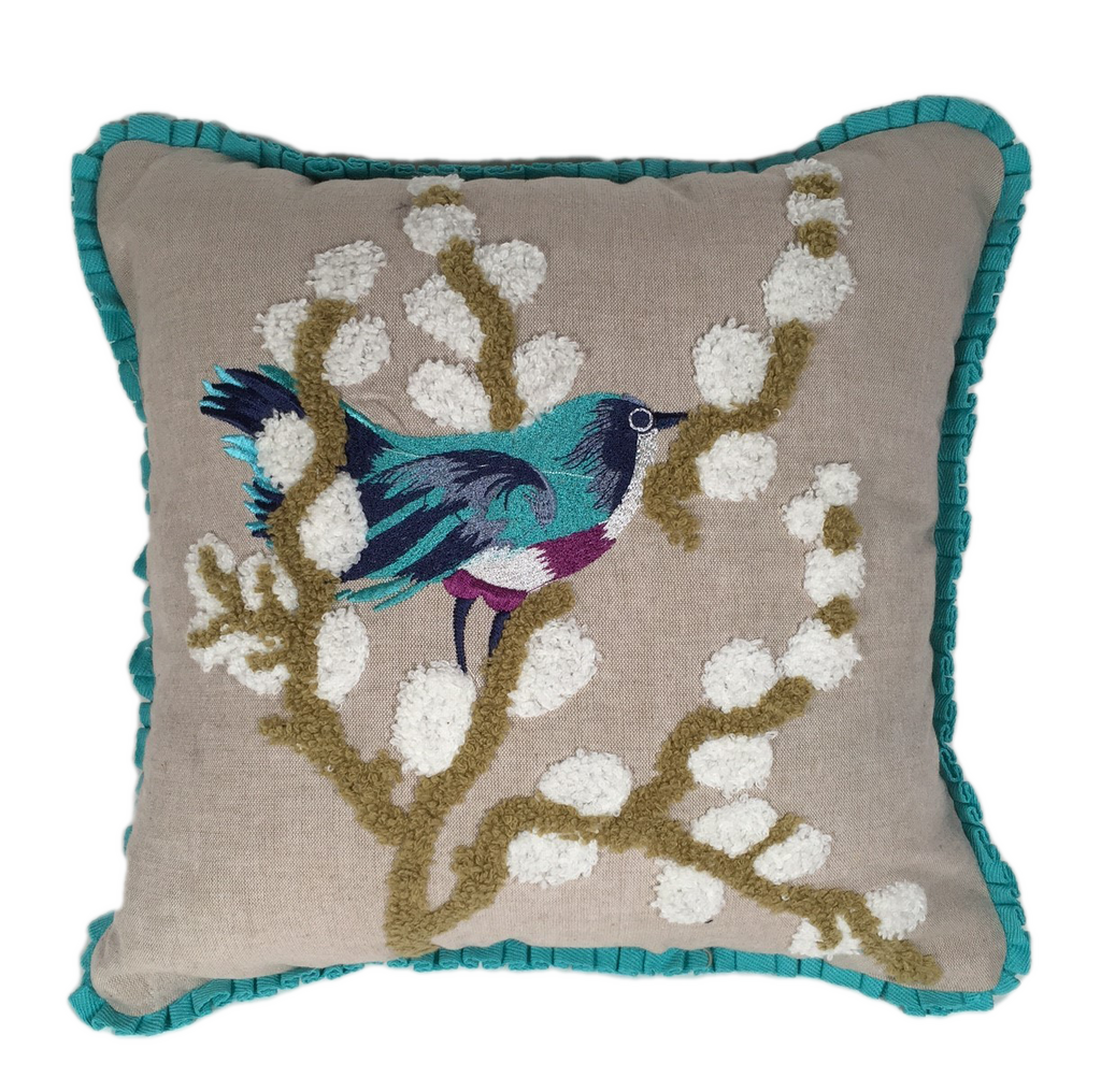 Bluebird stitched pillow