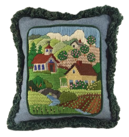 Country scene needlework pillow