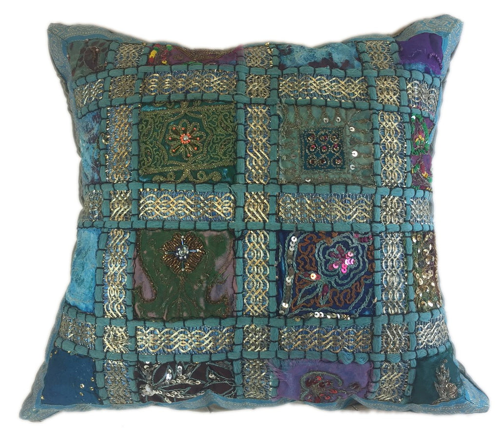 Embellished Ethnic Turquoise Pillow