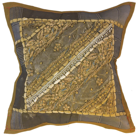 Ethnic pillow in grays and browns