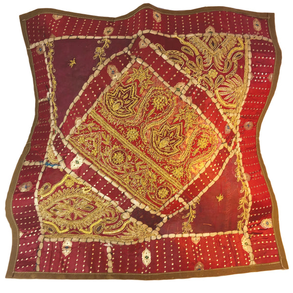 Deep red exotic pillow with gold accents