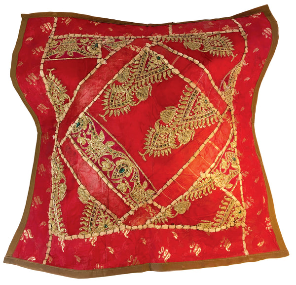 Royal red highly embellished exotic pillow