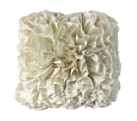 Luxurious White Ruffle Pillow