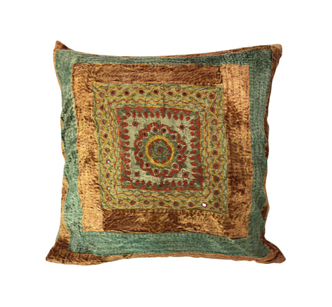 Boho colors, tribal design pillow