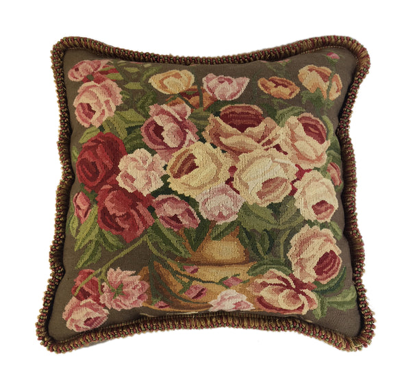 Aubusson bowl of roses pillow