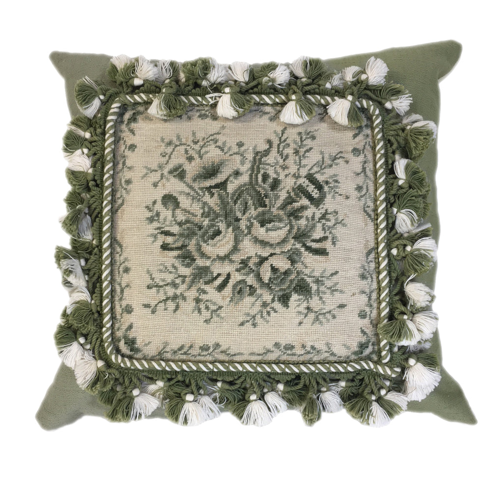Pale olive and cream floral pillow