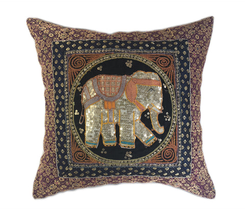 White Elephant Embellished Pillow