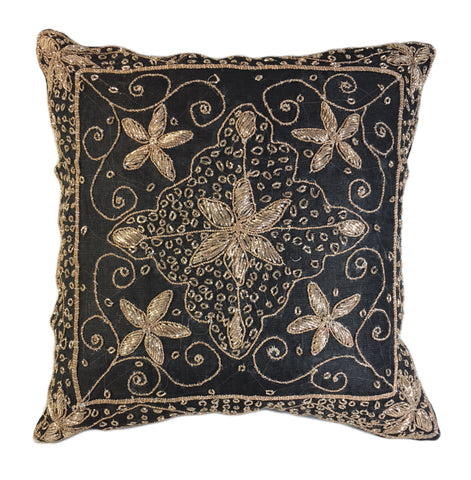 Gold Embellished Black Pillow
