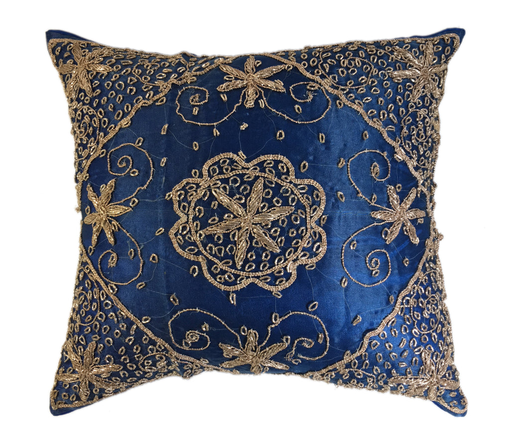 Sumptuous Royal Blue & Gold Pillow