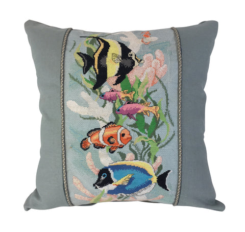 Blue Underwater Fish Pillow