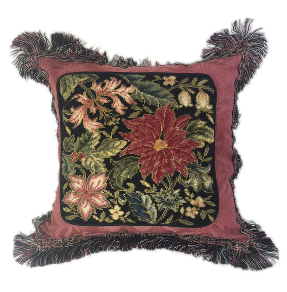 Zenia Garden Needlepoint pillow
