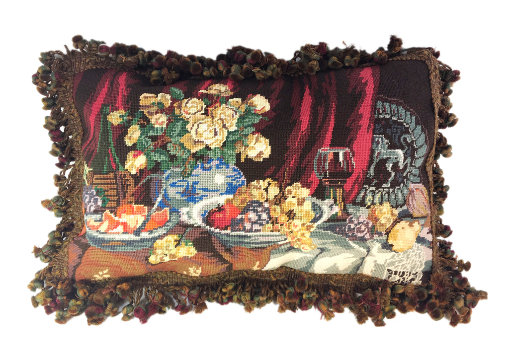 Needlepoint still life pillow