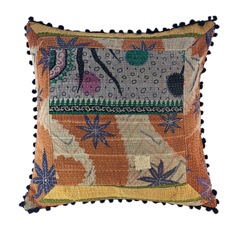 Patchwork quilted global pillow