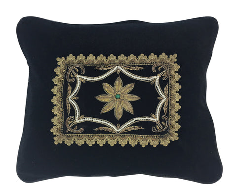 Gold Metallic and Black Pillow