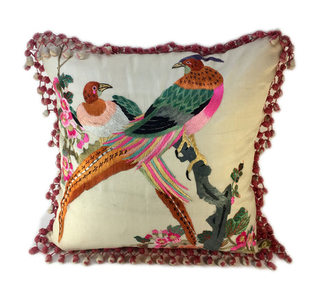Asian-inspired Bird Pillow