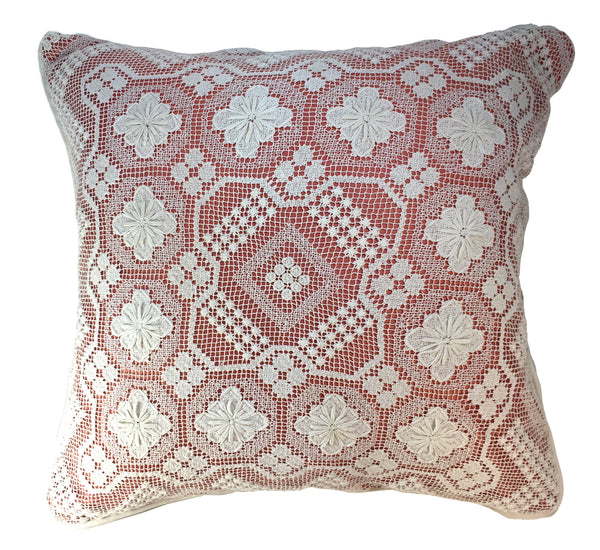 Vintage Crochet Pillow, Fresh White and Peach