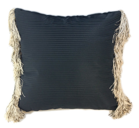 Elegant Black Pleated Pillow