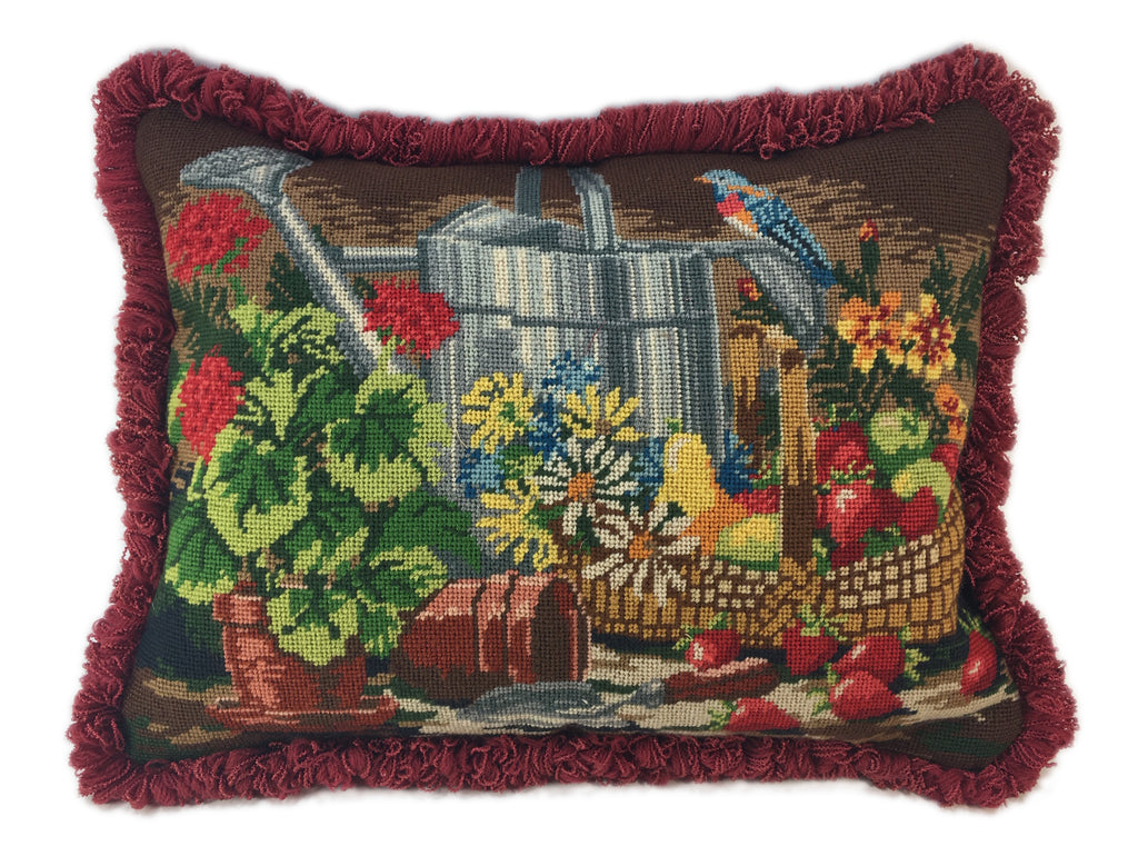 Gardener Needlepoint Pillow