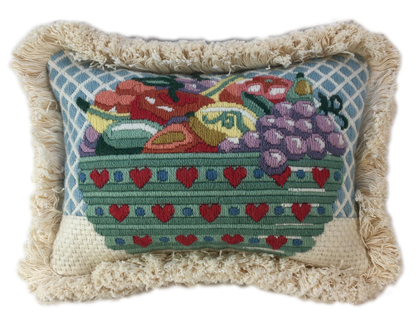 Charming Basket of Fruit in Wool Needlework Pillow