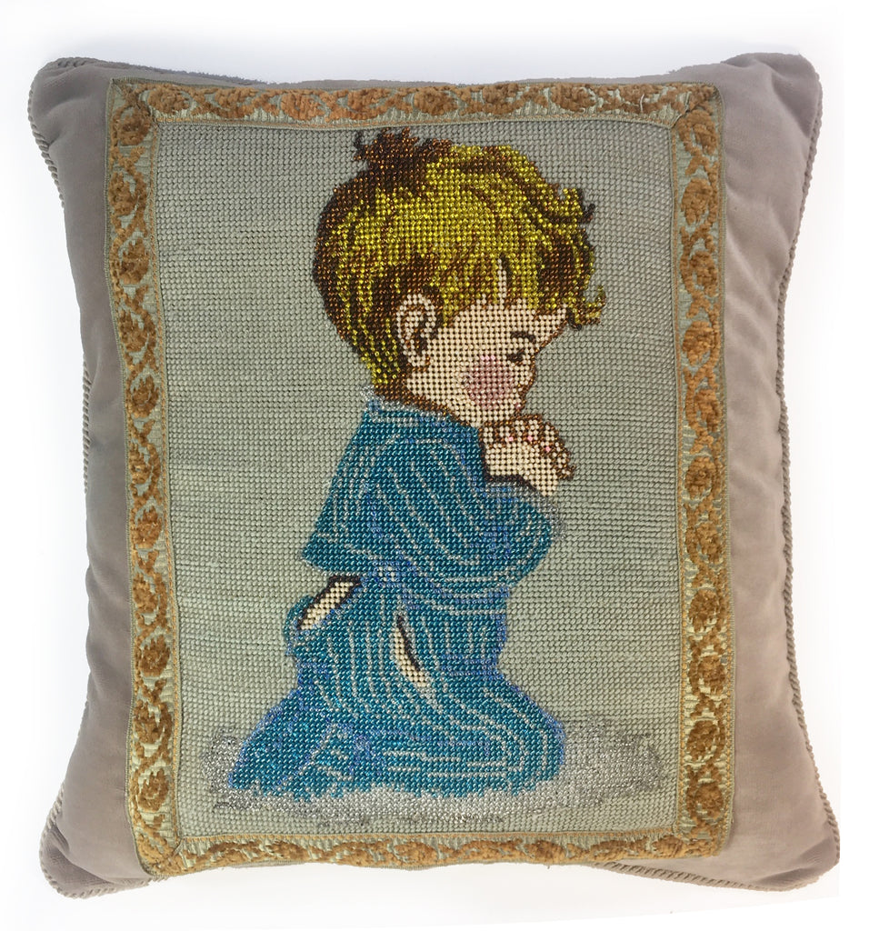 Boy saying his prayers vintage pillow